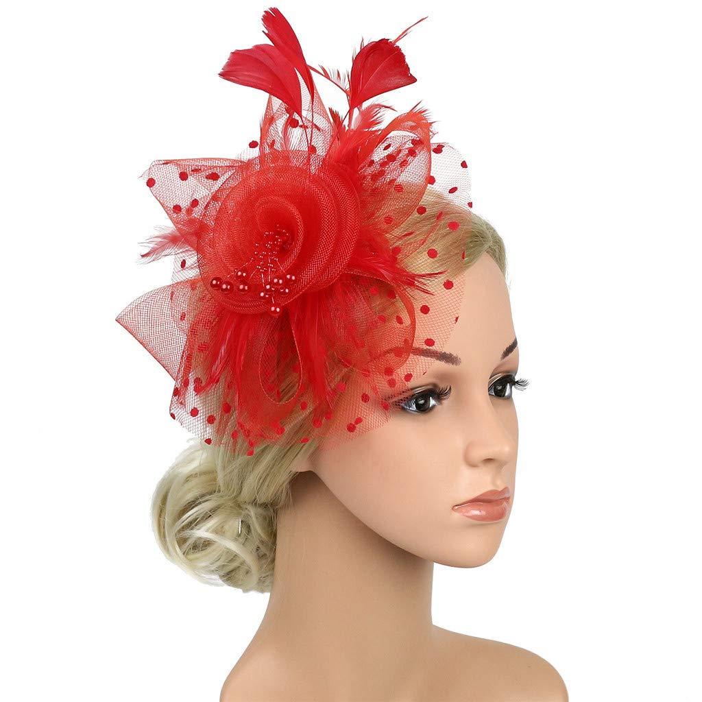Big Flower Handmade Headband Netting Mesh Cocktail Hat Party Girls Women Fascinator Hairband.Flapper Great Gatsby Headband Pearl Charleston Party Bridal Headpiece YP