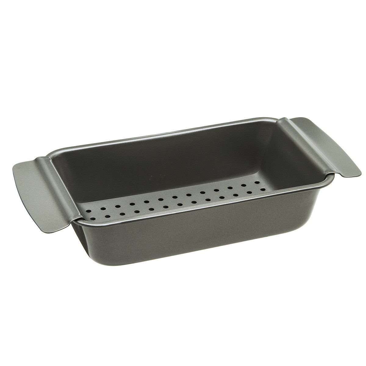 "Ecolution Bakeins Healthy Meat Loaf Pan Set – Loaf Pan and Perforated Tray – PFOA, BPA, and PTFE Free Non-Stick Coating – Heavy Duty Carbon Steel – Dishwasher Safe – Gray – 9"" x 4.875"" x 2.5"" by Ecolution"