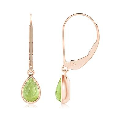 Angara Rose Gold Pear Shaped Peridot Earrings DM0jNE