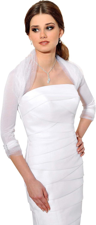 TALLA (36/38). Bolero de novia con las mangas de 3/4 en Tul