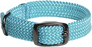 product image for Mendota Pet Double Braid Collar - Black Metallic - Dog Collar - Made in The USA - Turquoise , 9/16 in x 14 in Junior