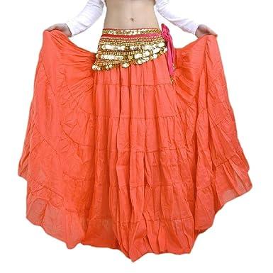 VITryst Falda de Flecos para Mujer, Estilo Bohemio Naranja Naranja ...