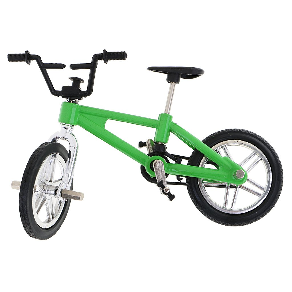 Dovewill Cool Finger Mountain Bike Miniature Metal Bicycle Model Creative Game for Children Kids Gift Green