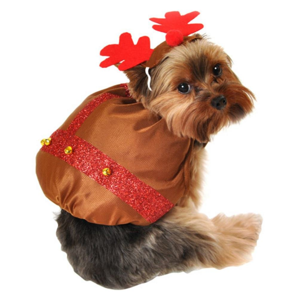 X-Small Small Simply Dog Reindeer Costume Brown Christmas Pet Outfit with Antlers XS S