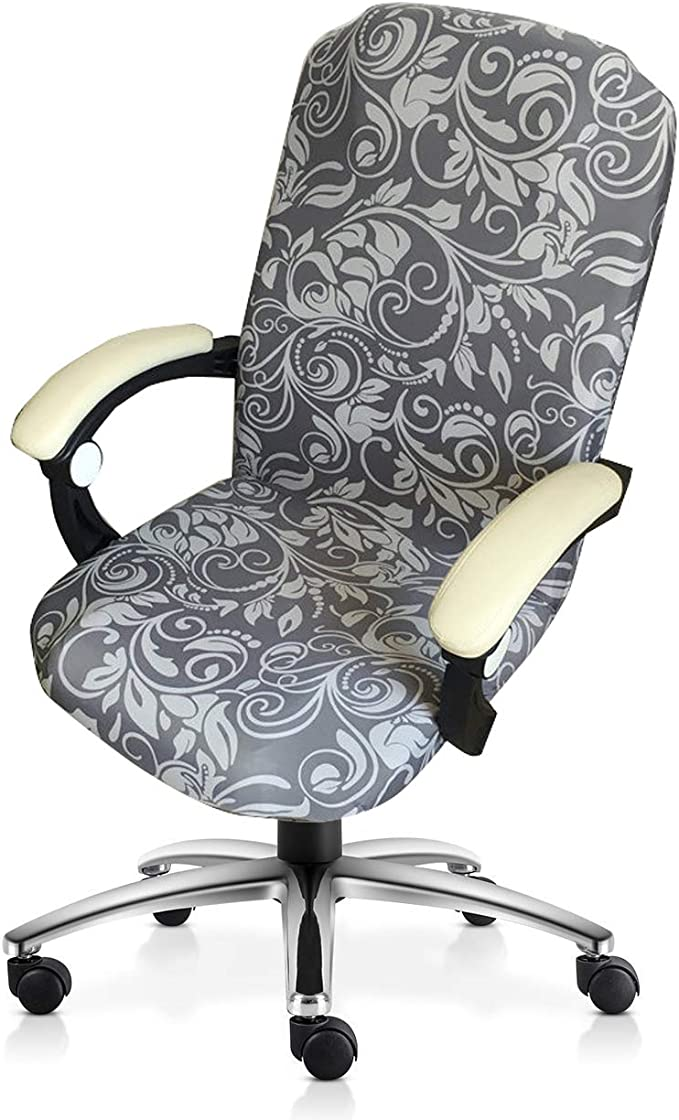 MOCAA Computer Office High Back Large Chair Covers Stretchable Polyester Washable Rotating Chair Slipcovers,ONLY Chair Covers M006 (Grey Leaves)