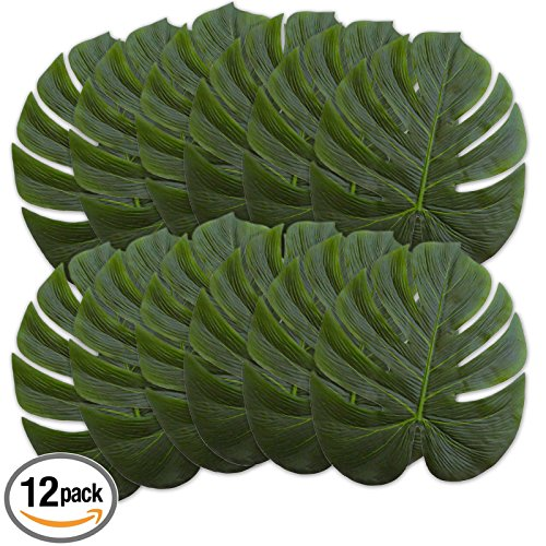 14  Green Leafs   Artificial Palm Plants   Hawaiian   Zoo   Jungle   Beach  Tropical Themed Parties   Luau Party Leaves Decorations  12 Pcs Pack
