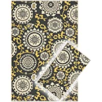 Rubber Backed Floral Medallion Yellow & Grey 2 Piece Area Rug SET (18 x 31 & 34 x 5)
