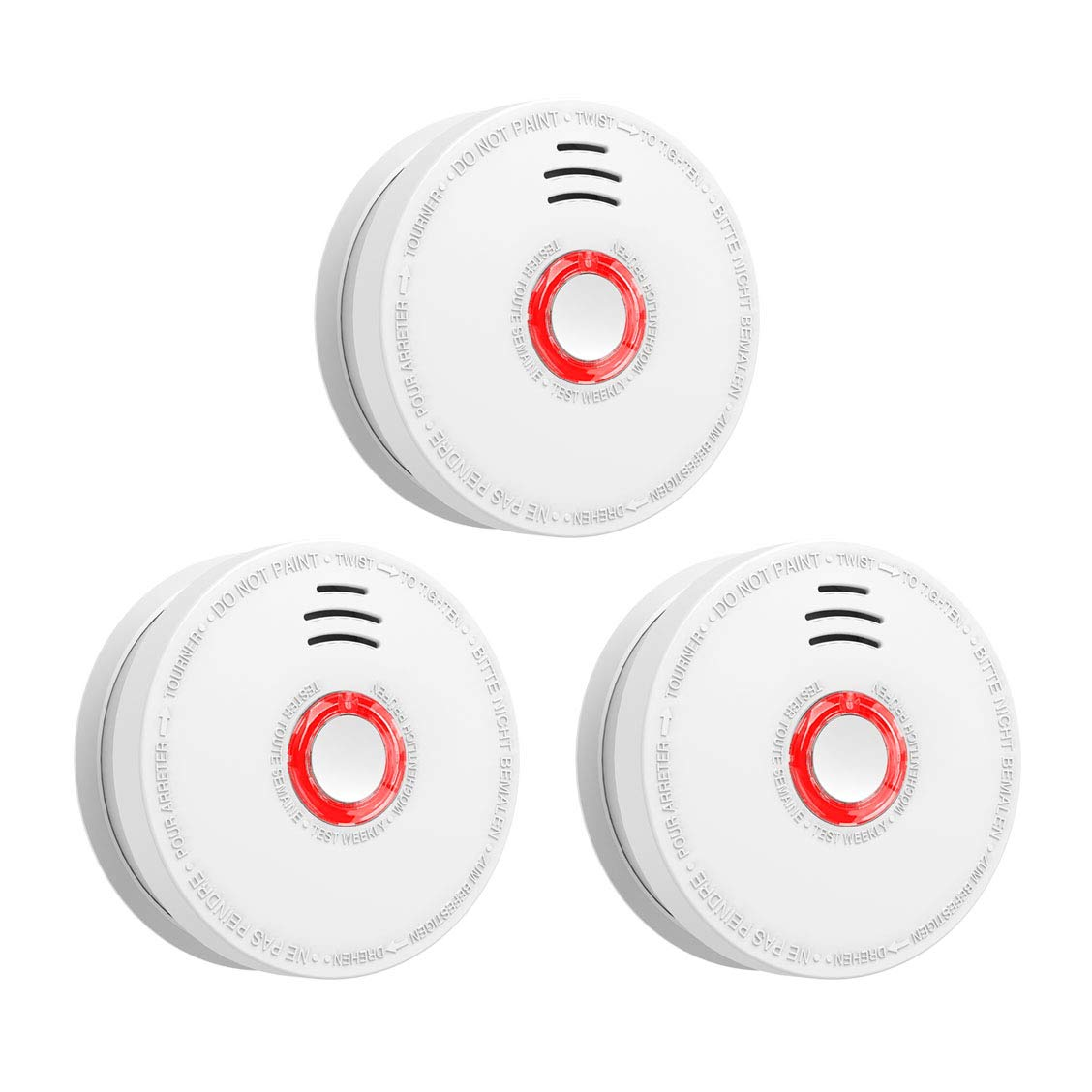 SITERWELL Smoke Detector and Fire Alarm 3 Pack DC 9V Battery (Included) Operated Photoelectric Smoke Alarm with Test Button, UL Listed. Fire Detector for Home Hotel etc.
