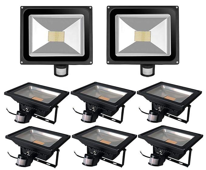 Leetop 8X Interior y Exterior 80W LED Focos Blanco Cálido con Sensor de Movimiento,con