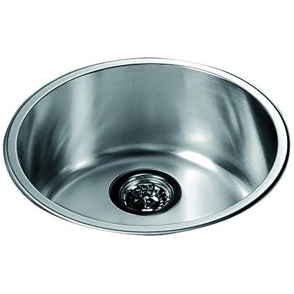 Dawn 3235 Top Mount Round Single Bowl Bar Sink, Polished Satin ...