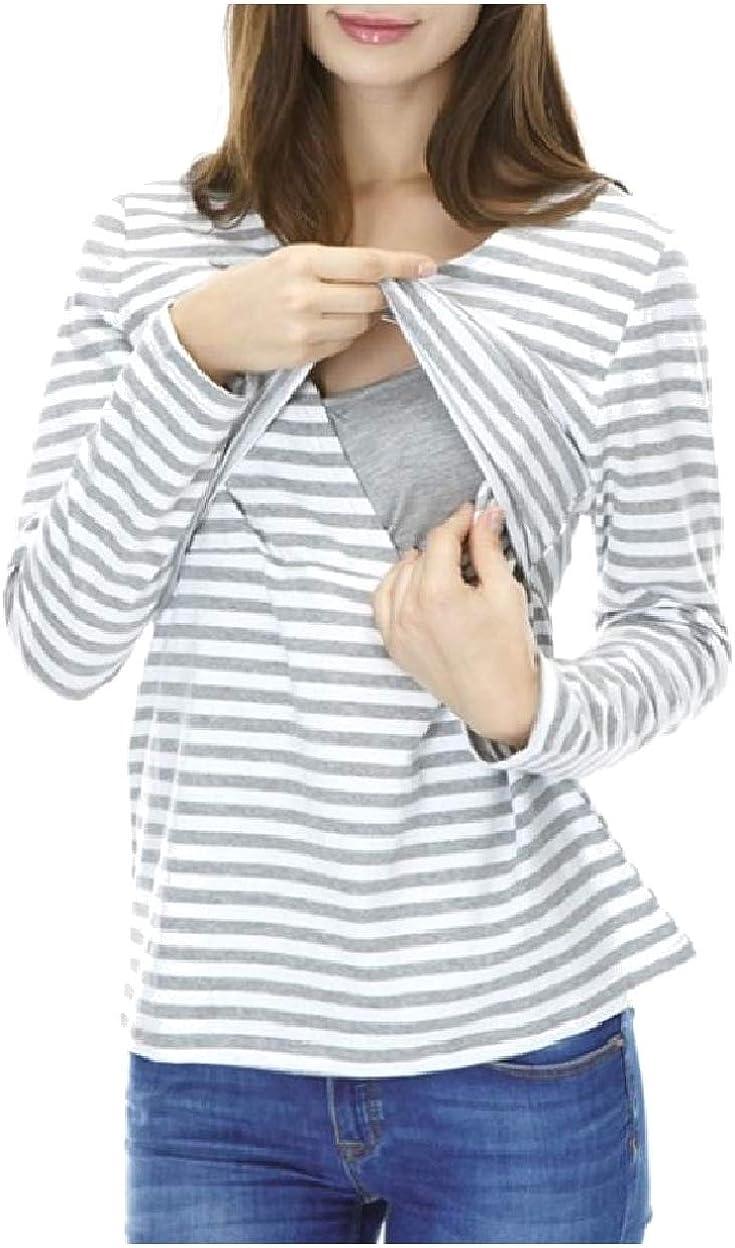 Sebaby Womens Stretch Soft Chic Breastfeeding Round Neck Cozy T-Shirts