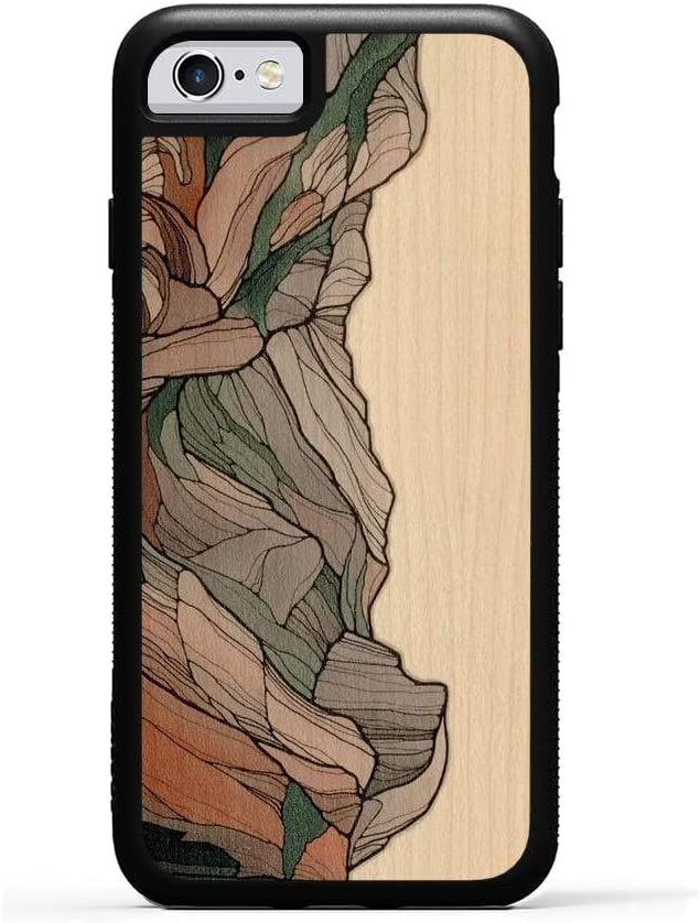 Carved - iPhone 6 / 6s - Luxury Protective Traveler Case - Unique Real Wooden Phone Cover - Rubber Bumper - Half Dome Print