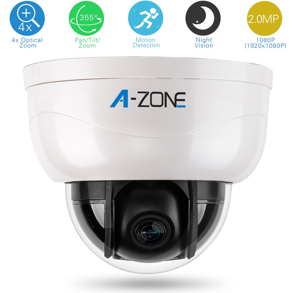 A-ZONE 3Axis Dome Camera 1080P 4X Optical Zoom Plastic Indoor Megapixel HD Mini Medium Speed PTZ CCTV Camera Night Vision by A-ZONE