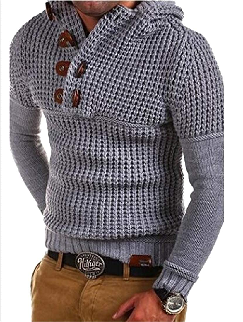 Suncolor8 Mens Knit Slim Fit Long Sleeve Button Down Winter Pullover Sweater