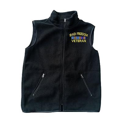 IRAQI Freedom Veteran Black Fleece Zipped Vest with Pocket