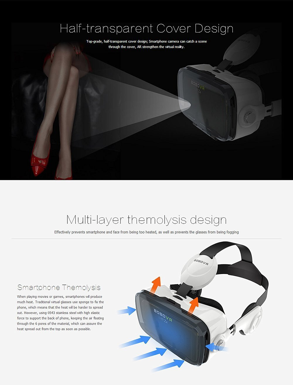 Óculos Virtual Bobovr Z4 Fone Acoplado 3d + Controle (Branco)   Amazon.com.br  Eletrônicos cc9a035340