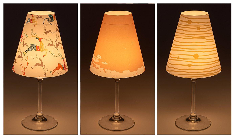 """Cuadros Lifestyle Candle Lights/Lampenschirme für Weingläser/Deko-Lampenschirme/Lampe / Teelicht/Lampshades / Lampenschirm-Set """"Jonna"""" Tischdeko, 3-teilig, Größe:ca. 34x16 cm cuadros-lifestyle"""