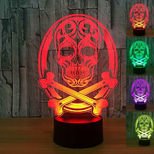3D Skull Night Light USB Touch Switch Decor Table Desk Optical Illusion Lamps 7 Color Changing Lights LED Table Lamp Xmas Home Love Brithday Children Kids Decor Toy Gift by MOLLY HIESON