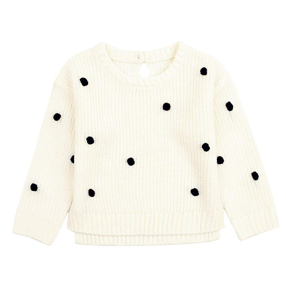 Infant Baby Girl Long Sleeve Dot Knitted Sweater Pullovers for 0-24 Months