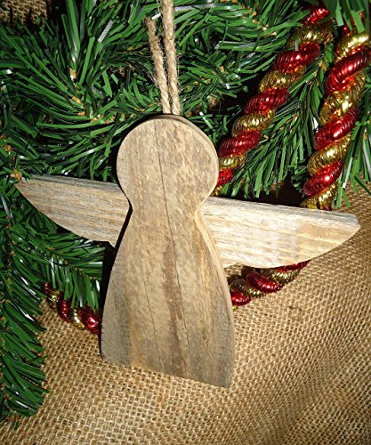 (Rustic Wooden Angel ornament perfect for your holiday decor and gift giving.)