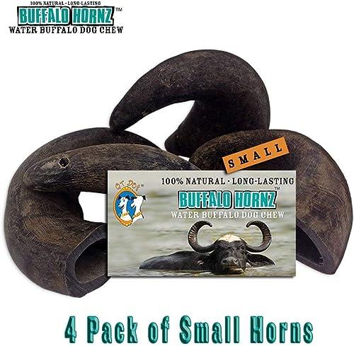 4 Pack of Buffalo Hornz Small Long Lasting 100 Natural Water Buffalo Horn Dog Chews