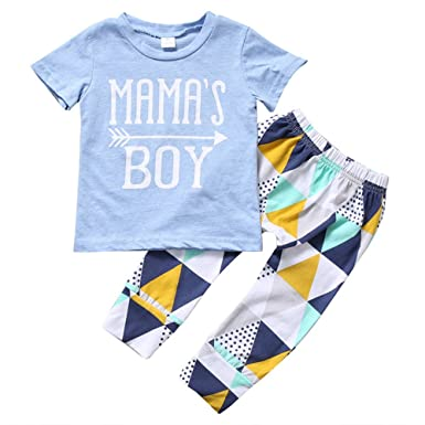 d6ec9414 Mellons Baby Boys MAMA'S BOY Sleeve Short T-shirts Tops + Geometric  Splicing Pants Outfits