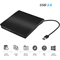 External CD Drive USB 3.0 Portable Slim External DVD Drive, Gipow External DVD CD Drive & CD DVD +/-RW Writer/Rewriter/Player High Speed Data Transfer (Black)