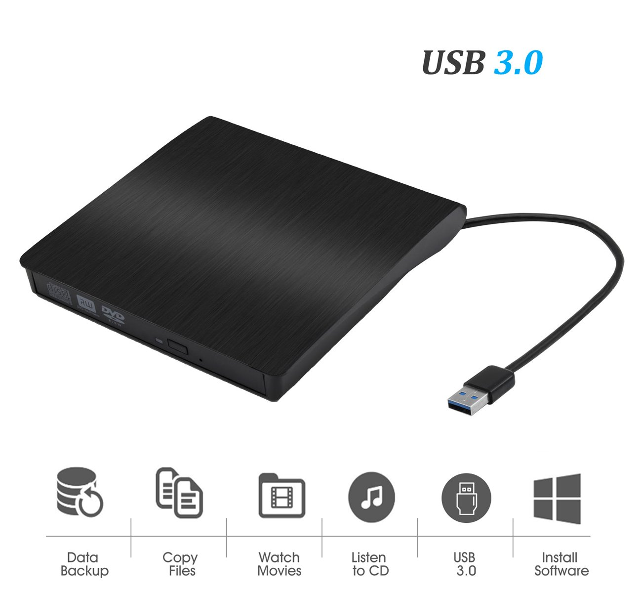 External CD Drive USB 3.0 Slim External DVD CD Drive, Gipow High Speed Data Transfer DVD/CD +/-RM Writer Burner Rewriter DVD CD ROM Drive for Macbook Pro/Laptops/Desktops/Notebook(Black)
