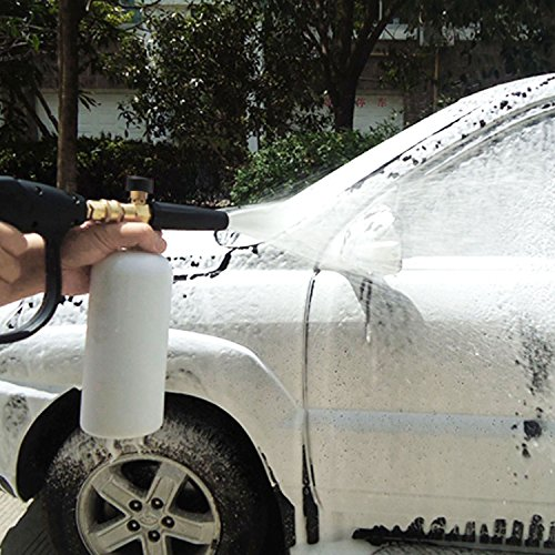 UCFOAM UC-988 Adjustable Foam Cannon 33 fl. oz (1Liter) Bottle Snow Foam Lance with 1/4'' Quick Connector Foam Blaster, 5 Pressure Washer Nozzles for Cleaning (Foam Cannon with 5 Nozzles)