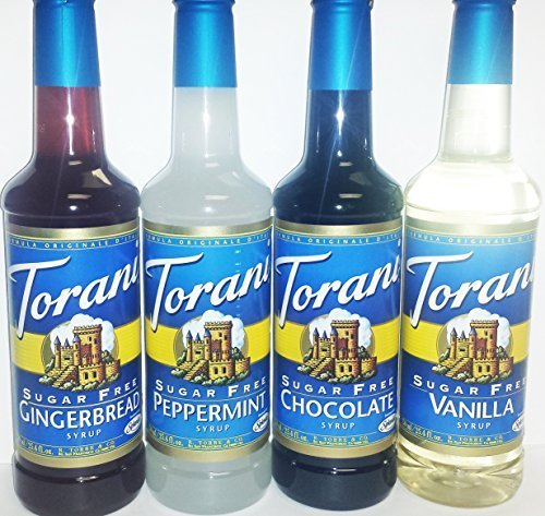 Torani Sugar Free Holiday Syrup 4 Pack (750ml Bottles), Sf Gingerbread, Sf Peppermint, Sf Chocolate and Sf Vanilla by Torani