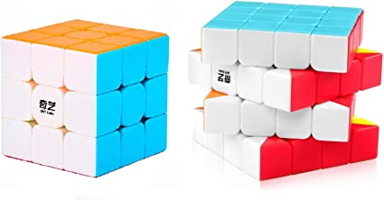 D ETERNAL Rubiks Rubix Cube Combo of QiYi Warrior W 3x3 & QiYi Qiyuan S 4x4 high Speed stickerless Magic Rubic Puzzle Cube