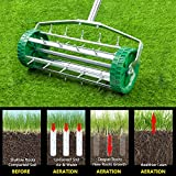 USAStock 16.5' Roller Lawn Aerator Gardening Tool for Grass, Soil w/Tine Spikes, 51-inch Handle Lawn Maintenance and Gardening Hand Tools