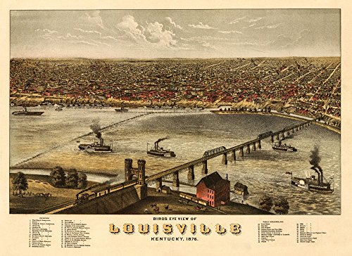 Louisville, Kentucky - (1876) - Panoramic Map (12x18 SIGNED Print Master Art Print w/Certificate of Authenticity - Wall Decor Travel Poster)