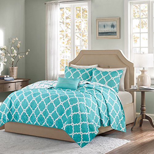 Madison Park Essentials Merritt Full/Queen Size Quilt Bedding Set - Aqua, Geometric – 4 Piece Bedding Quilt Coverlets – Ultra Soft Microfiber Bed Quilts Quilted Coverlet