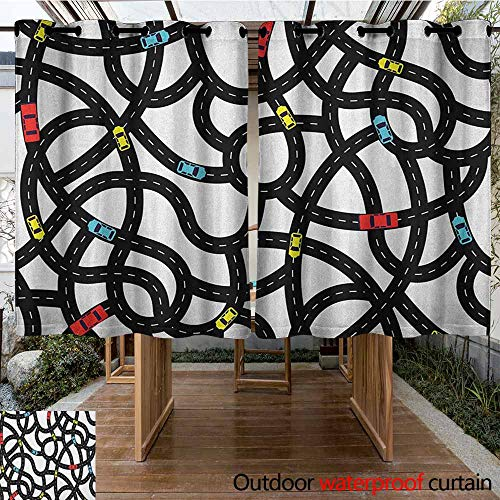AndyTours Outdoor Grommet Top Curtain Panel,Cars,Intertwining Roads with Cars on Them Complicated Design with Urban Life Theme,Waterproof Patio Door Panel,K160C115 Black Yellow Blue