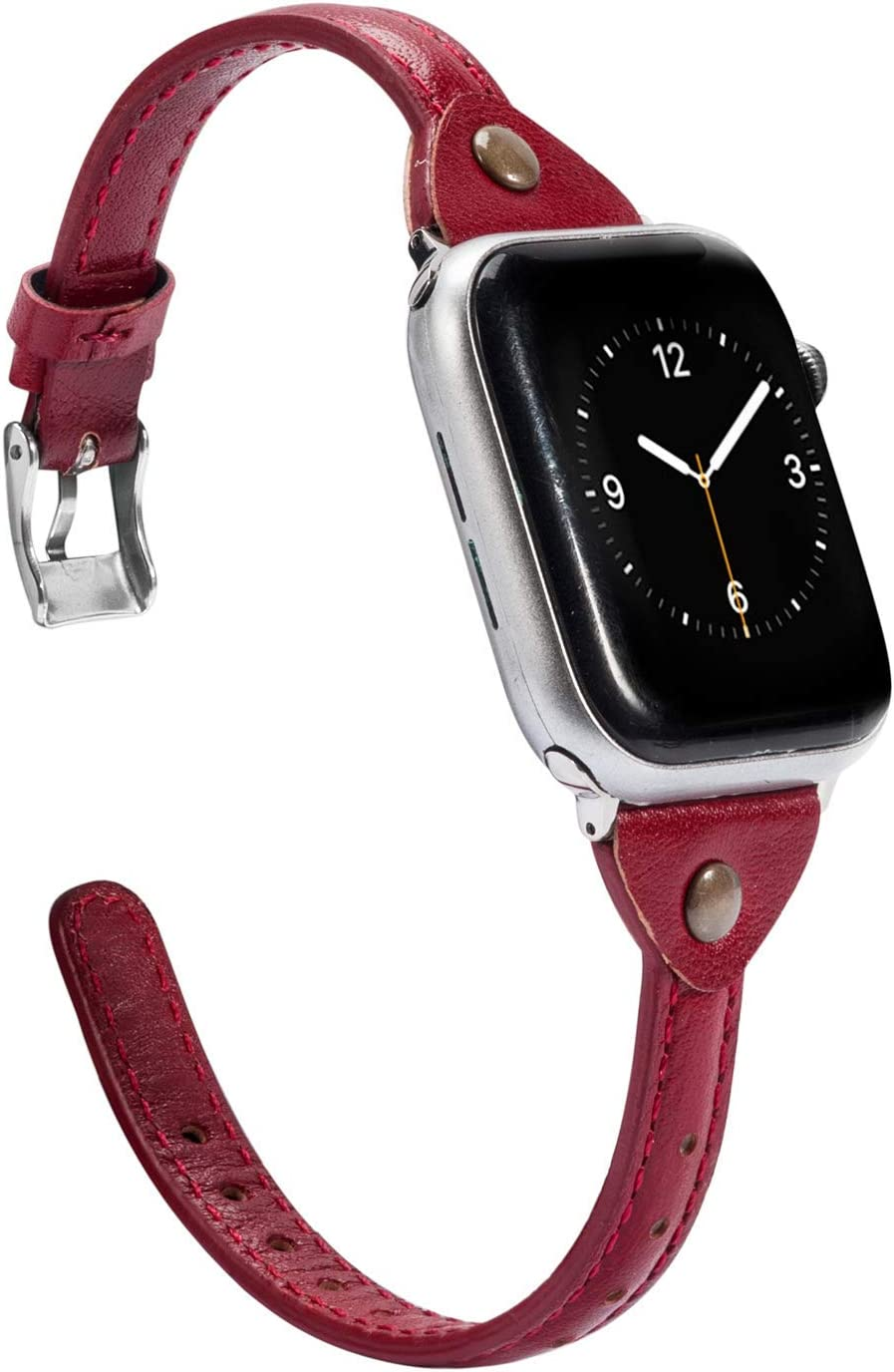 Wearlizer Deep Red Leather Compatible with Apple Watch Slim Leather Band 42mm 44mm for iWatch SE Womens Mens Strap Wristband Leisure Unique Bracelet (Silver Metal Clasp) Series 6 5 4 3 2 1 Sport