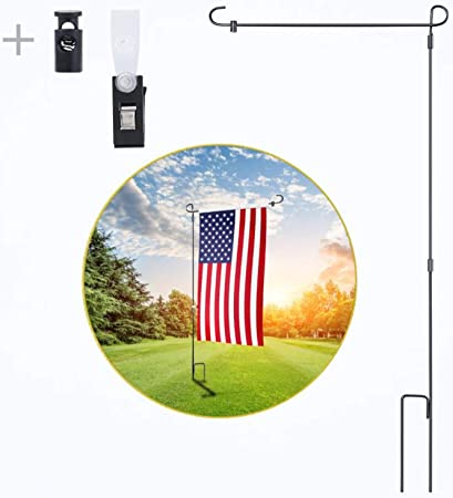 Garden Flag Stand Flagpole Wrought Iron Small Flag Stand Yard Outdoor Pole Black