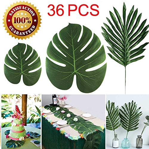 Tropical Theme - Longloving 36 Pcs 3 Kinds Artificial Palm Leaves Tropical Plant Faux Leaves Safari Leaves Hawaiian Luau Party Suppliers Decorations,Tiki Aloha Jungle Beach Birthday Table Leave Decorations