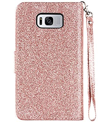 Galaxy S8 Plus Case, Samsung Galaxy S8 Plus Case, BENTOBEN Glitter Faux Leather Flip Credit Card Holder Wristlet Shockproof Protective Wallet Case for Samsung Galaxy S8 Plus (6.2 Inch) by BENTOBEN
