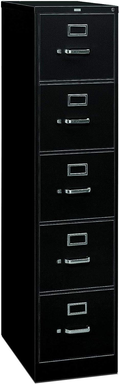 HON 5 Drawer Filing Cabinet - 310 Series Full-Suspension Legal File Cabinet, 26-1/2-Inch Drawers, Black (H315C) (Renewed)