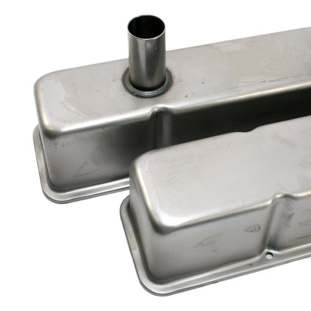 Assault Racing Products A7215R Small Block Chevy Raw Steel Circle Track Valve Covers Dual Tubes SBC Pre-87