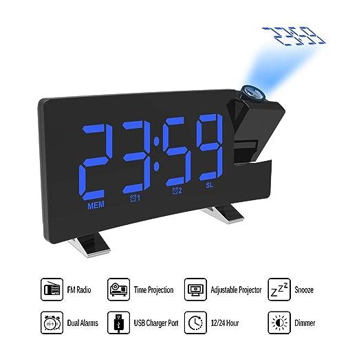 ONEVER Proyector Alarma Reloj de proyección LED con Pantalla Curva ...