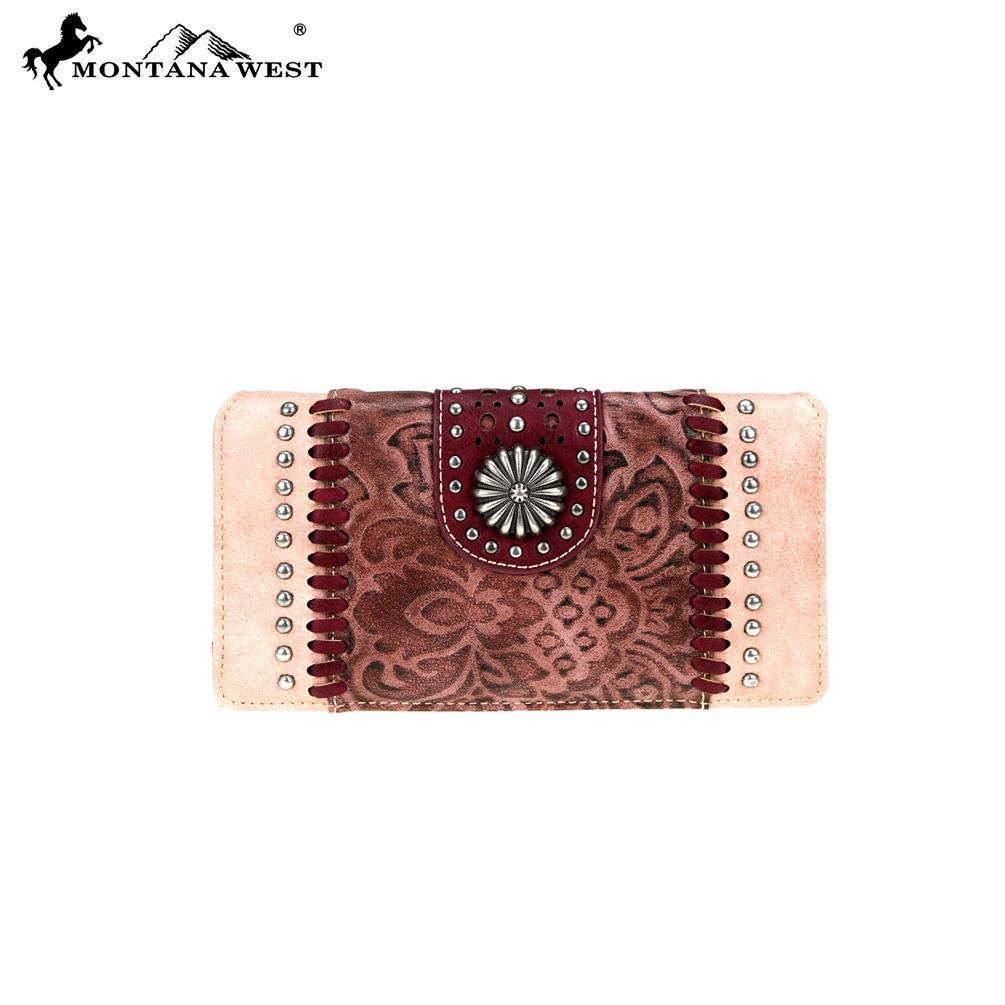 Montana West Secretary Style Wallet Concho Collection Quilted Leather MW704-W010 Pink