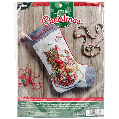 Bucilla 18-Inch Christmas Stocking Counted Cross Stitch Kit,