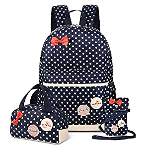 VBG VBIGER Carvas Backpack for Boys & Girls School Bags Polka Dot Backpack 3pcs Kids Book Bags Lunch Bags Purse