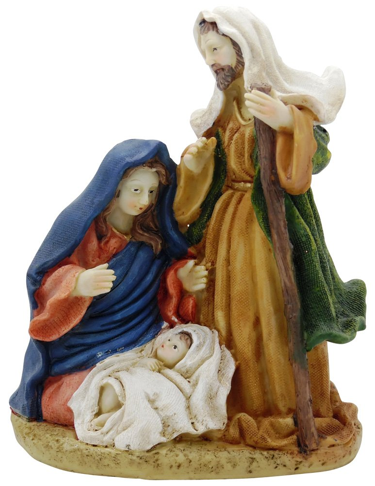 Christian Mary Joseph and Baby Nativity Christmas 6 inch X 7.25 inch Figurine