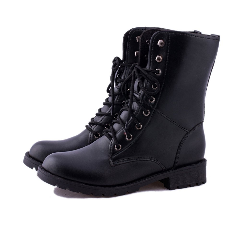 0e21f947d45 HARRYSTORE Footwear Ladies Ankle Retro Combat Boot Women's Funky Leather  Vintage Gothic Ankle Shoes Classic Lace Up Military Army Biker Boots Size:  ...