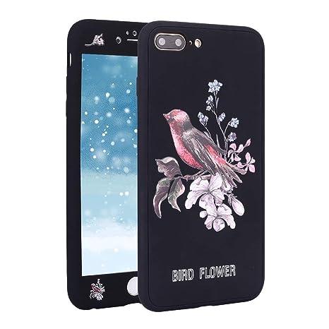 Funda para iPhone 8 Plus 360 Grados Integral Carcasa,iPhone 7 Plus Funda 360 ° con Dibujos Frontal y Trasera Full Body protección Completa Cover + ...