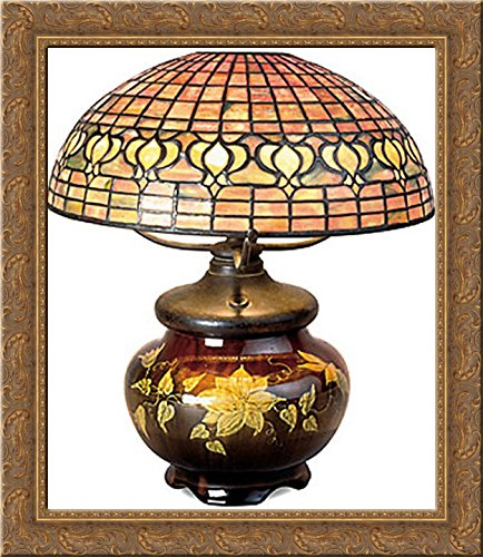 Pomegranate Lamp with Mariposa Pottery Base 20x22 Gold Ornate Wood Framed Canvas Art by Tiffany, Louis Comfort