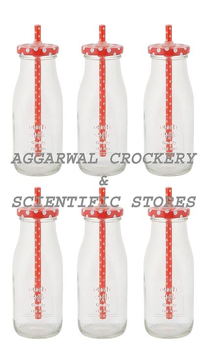 Aggarwal vajilla y científica tiendas lácteos leche botella de vidrio con tapa, 200 ml,
